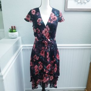 Soieblu High-Low Black and Red Floral Dres…